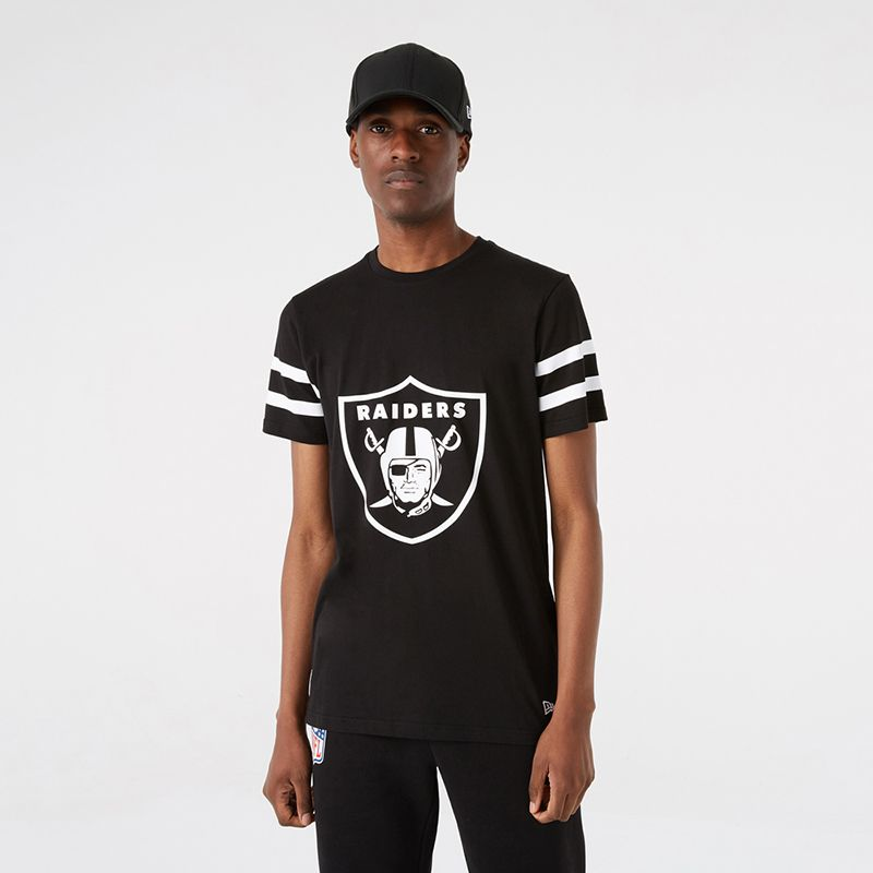 Black New Era Las Vegas Raiders men's oversized t-shirt with team logo on front from O'Neills.