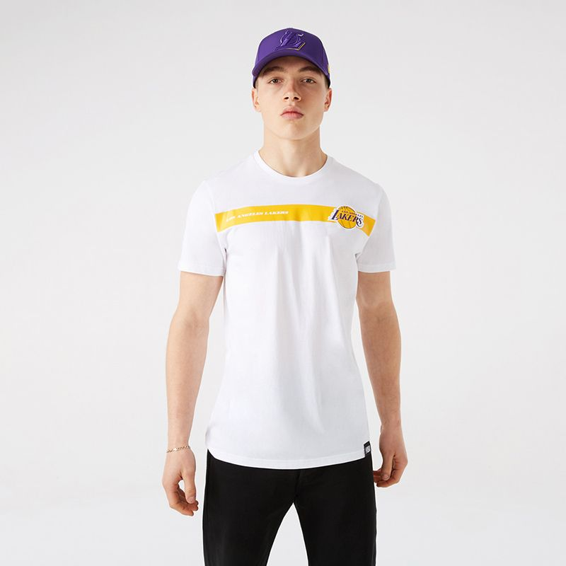White New Era LA Lakers short sleeve t-shirt with Lakers logo from O'Neills.