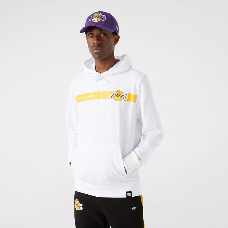White New Era LA Lakers overhead hoodie with Lakers logo from O'Neills.