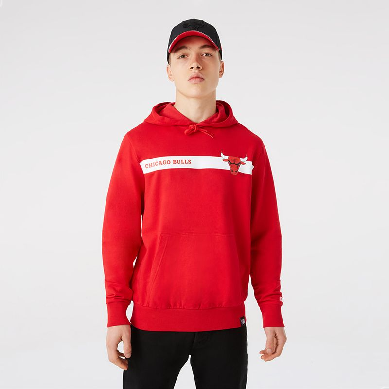 Red New Era Chicago Bulls men's overhead hoodie with Chicago Bulls logo and wordmark from O'Neills.