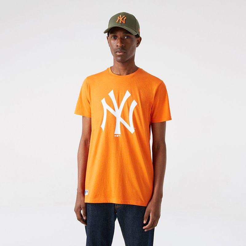Orange New Era Men's short sleeve t-shirt with white logo in centre from O'Neills.