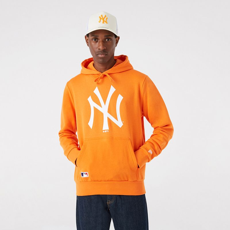 Orange New Era New York Yankees overhead hoodie with kangaroo pocket from O'Neills.