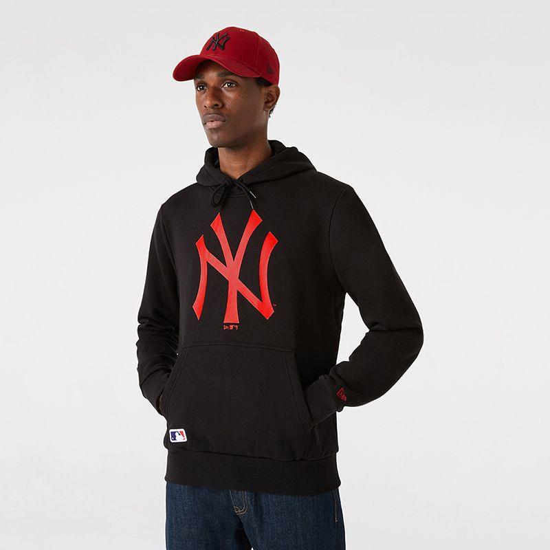 Black New Era New York Yankees men's overhead hoodie with kangaroo pocket from O'neills.