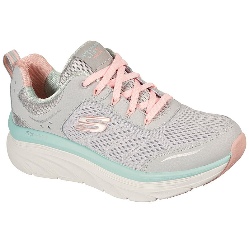 grey and pink Skechers women's runners in a sleek, sporty design with a lace up closure from O'Neills