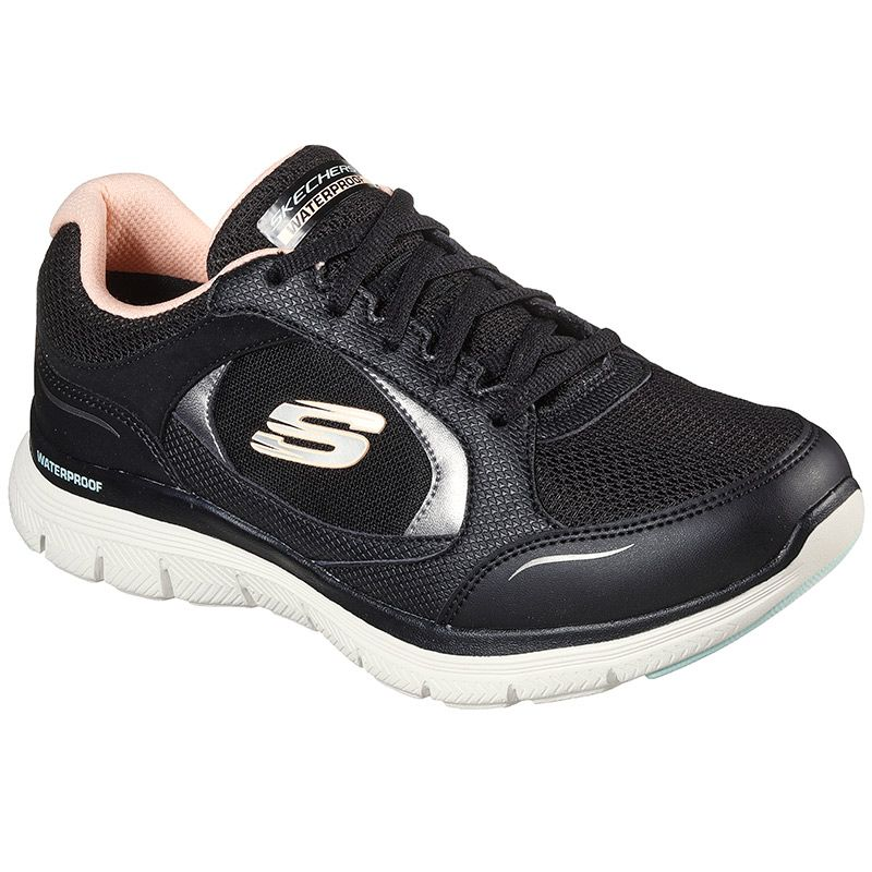 black and pink Skechers Women's trainers in a waterproof athletic sporty sneaker design from O'Neills