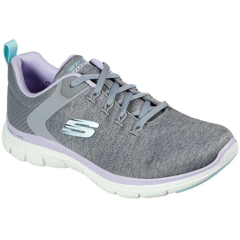 grey and purple Skechers women's runners in a sporty lace-up sneaker design from O'Neills