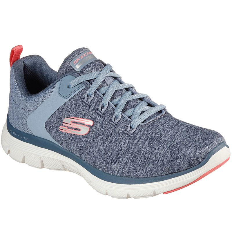 blue and pink Skechers women's runners with a soft sporty lace-up sneaker design from O'Neills
