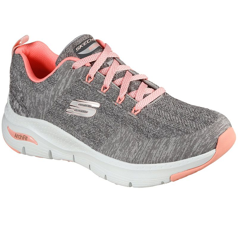 grey and pink Skechers women's runners in a lace up sporty design from O'Neills