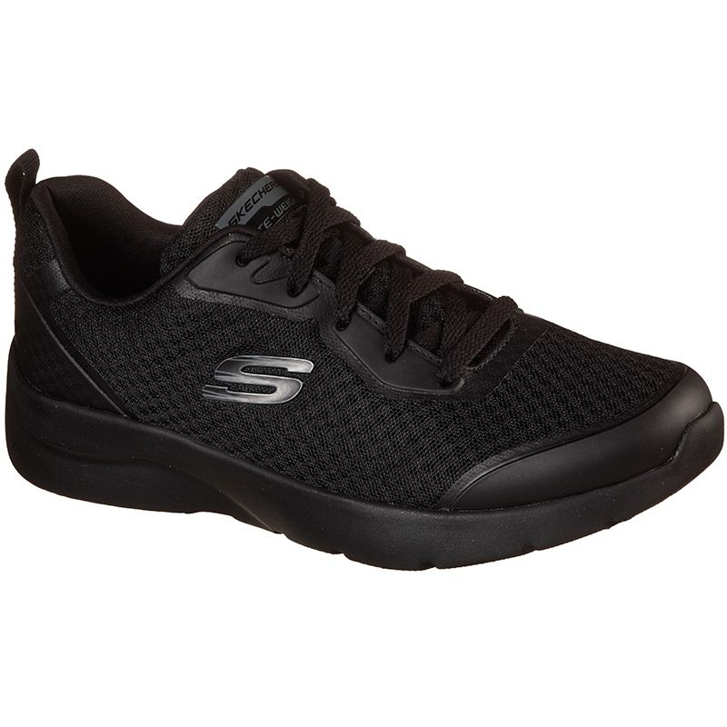 black Skechers women's trainers with a cushioned insole from oneills.com