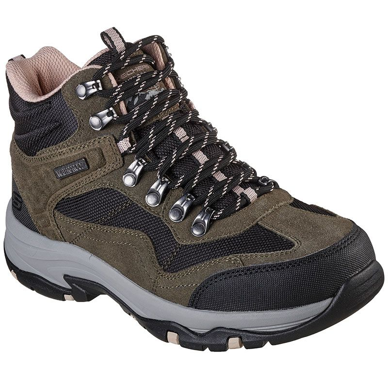 green and black Skechers womens lace up, waterproof, ankle height hiking boot from O'Neills