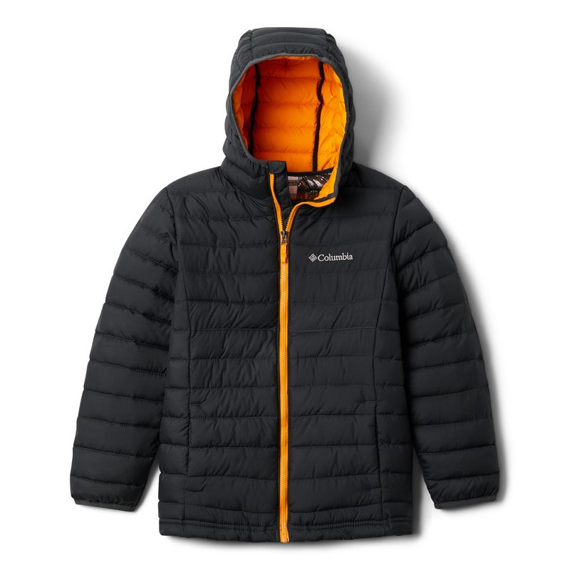 Black Columbia kids' padded coat with hood and bright orange zip from O'Neills.