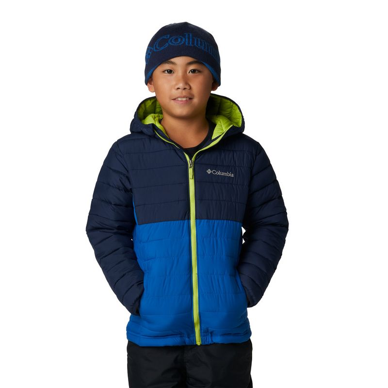 Navy and blue Columbia boys padded hooded jacket with green zip from O'Neills.