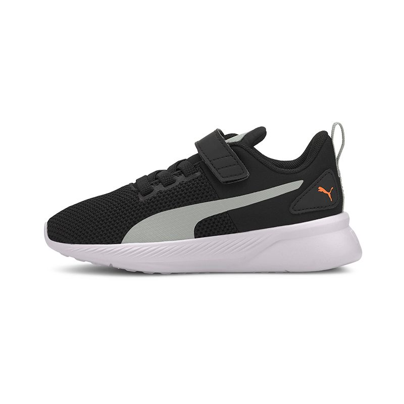 black and grey Puma kids' runners, breathable and lightweight with a hook and loop closure and elastic laces from O'Neills