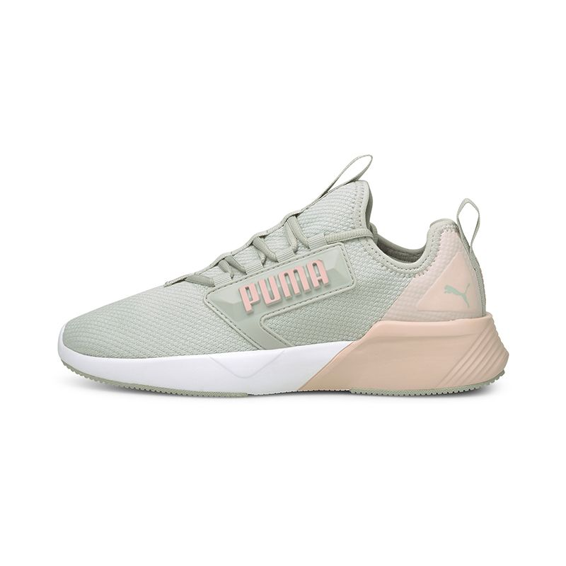 grey and pink Puma women's laced runners with a zoned rubber outsole from O'Neills
