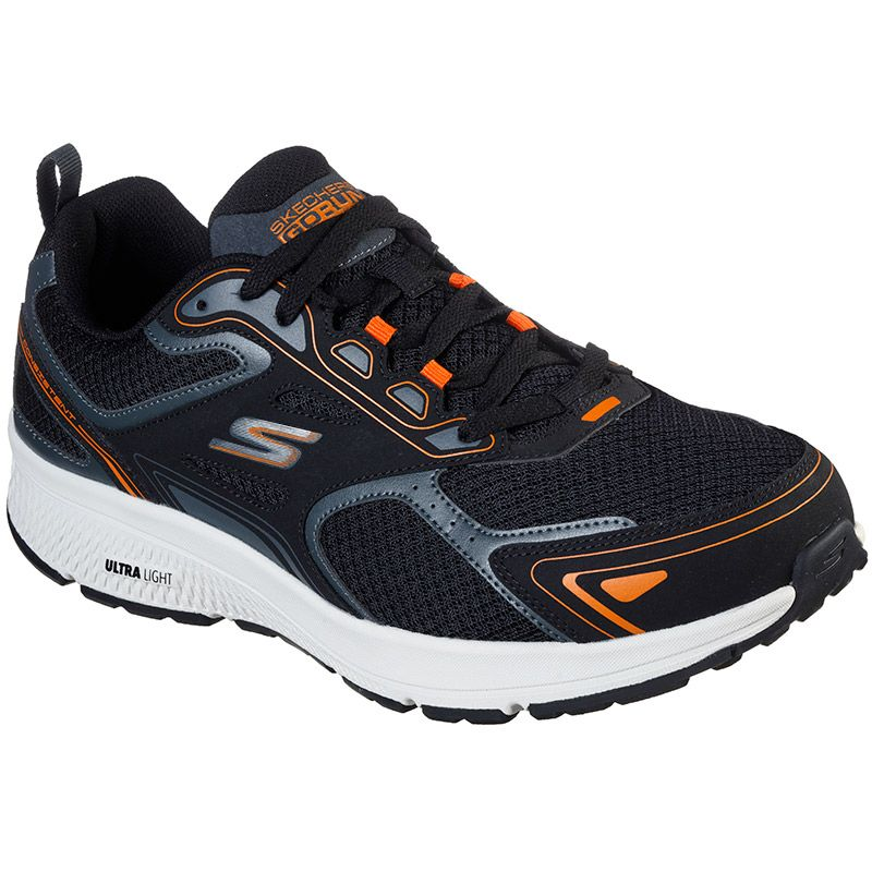 black and orange Skechers men's trainers, well cushioned with a mesh fabric upper from oneills.com