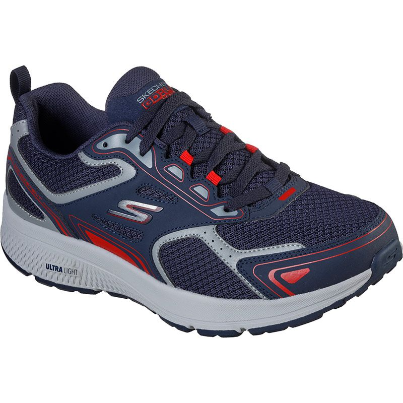 navy and red Skechers men's trainers perfect for a variety of workouts from O'Neills