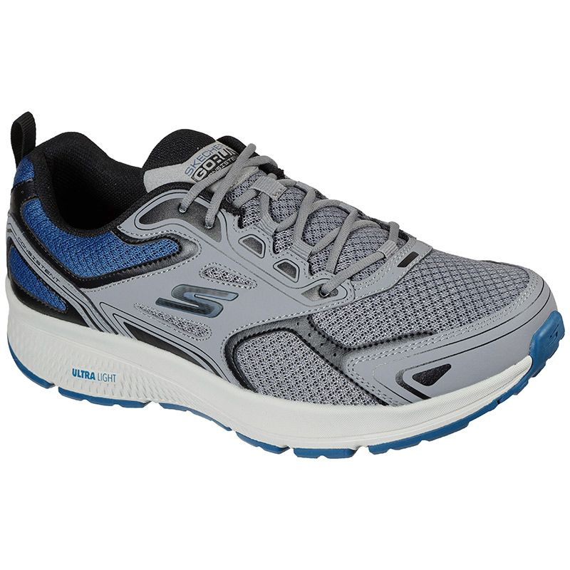 grey and blue Skechers Men's runners, well-cushioned with laces from O'Neills
