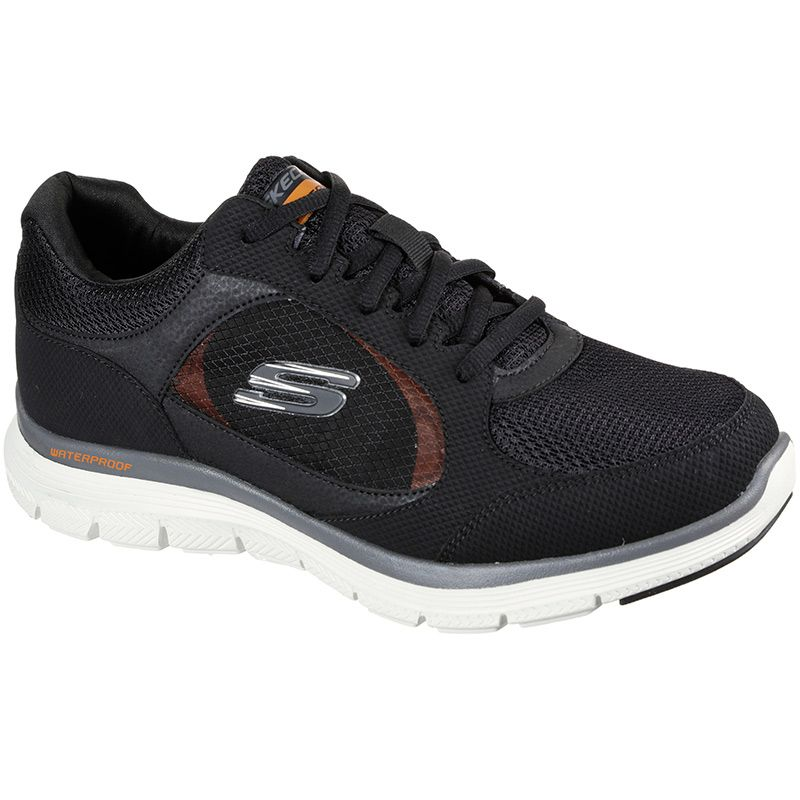black Skechers men's trainers with a waterproof leather and synthetic mesh upper from oneills.com