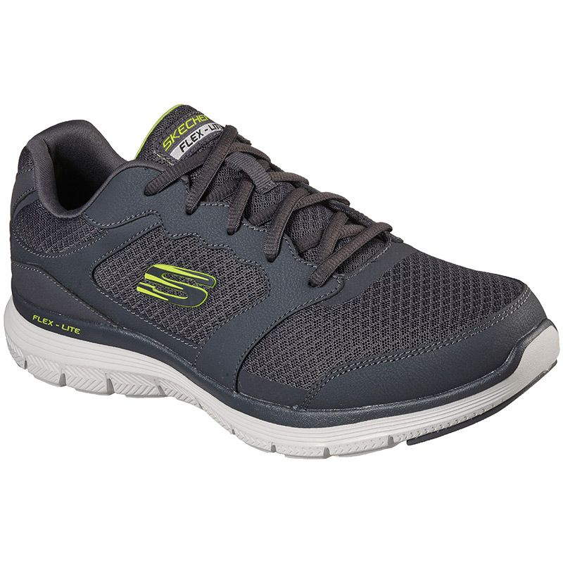 charcoal Skechers men's runners with a smooth action leather upper from O'Neills