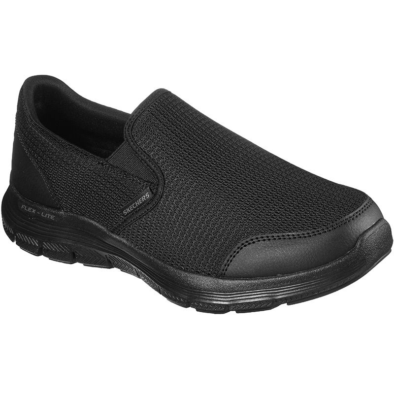 black SKECHERs men's trainers with breathable functional mesh from O'Neills
