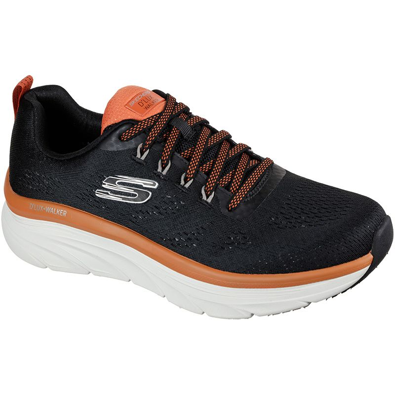 black and orange Skechers men's trainers with a roomy comfort fit from O'Neills