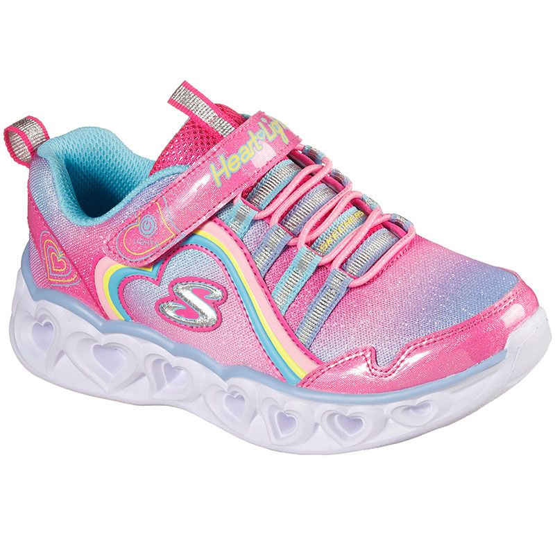 pink multicoloured Skechers kids' light up runners with an ombre sparkle finish from O'Neills