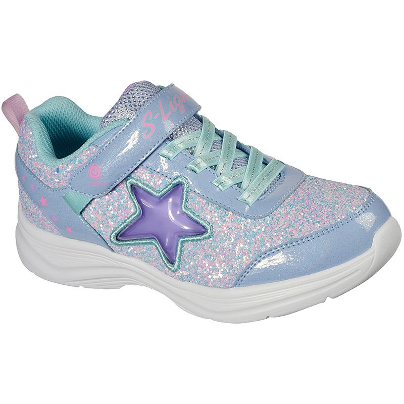 purple and blue Skechers kids' trainers with shiny metallic overlays from O'Neills