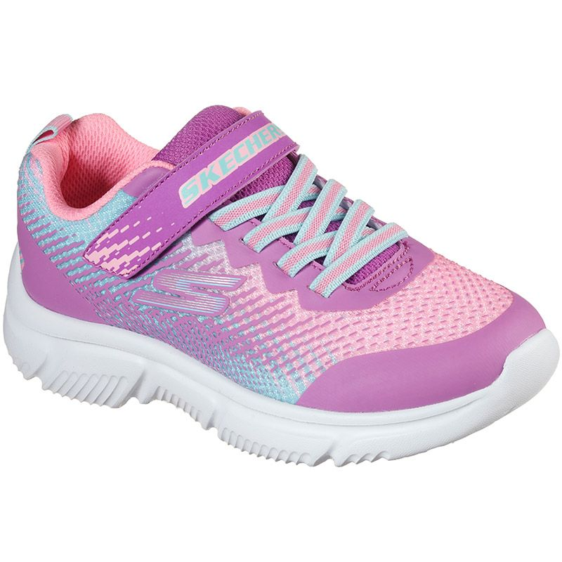pink and blue Skechers kids' trainers with a cushioned comfort insole from oneills.com