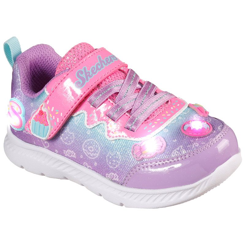 pink and purple Skechers kids' runners with a soft satiny watercolour ombre finish from O'Neills