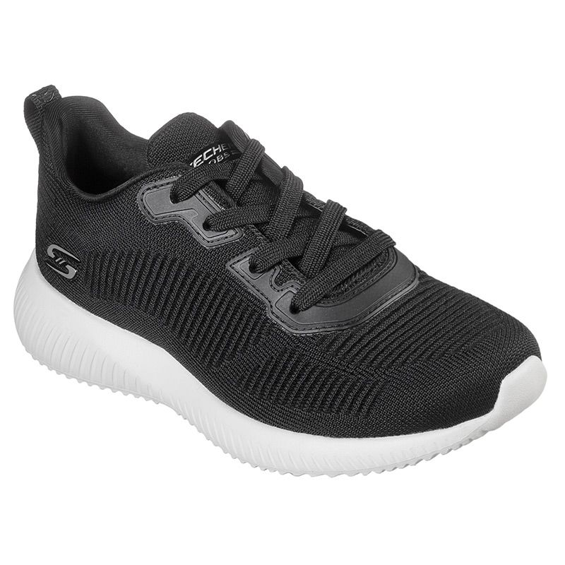 black Skechers women's runners in a lace up fashion sneaker design from O'Neills