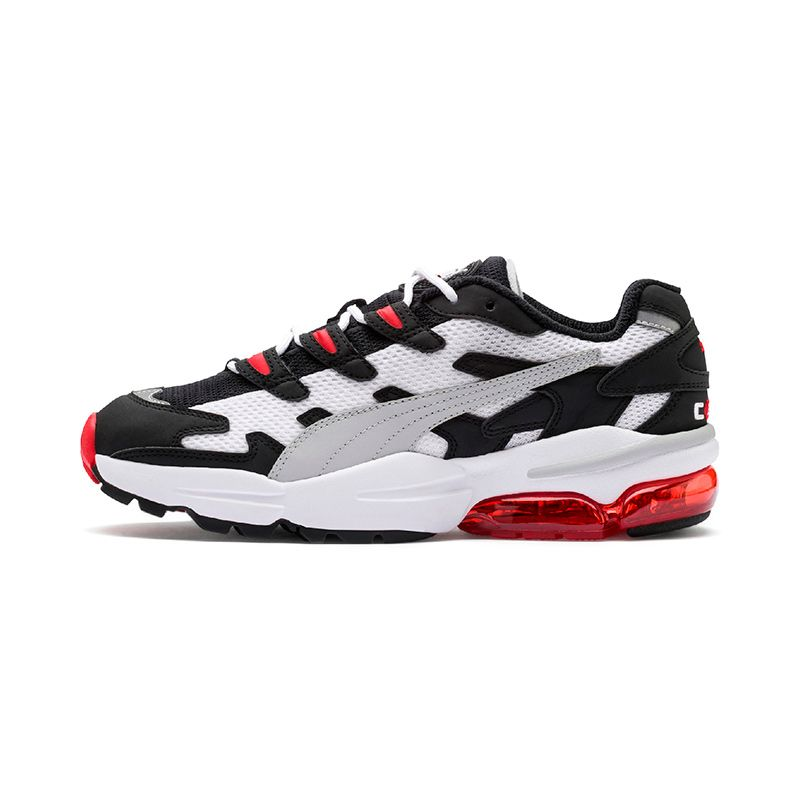 white, black and red Puma men's laced runners with a breathable mesh upper and padded tongue and collar from O'Neills