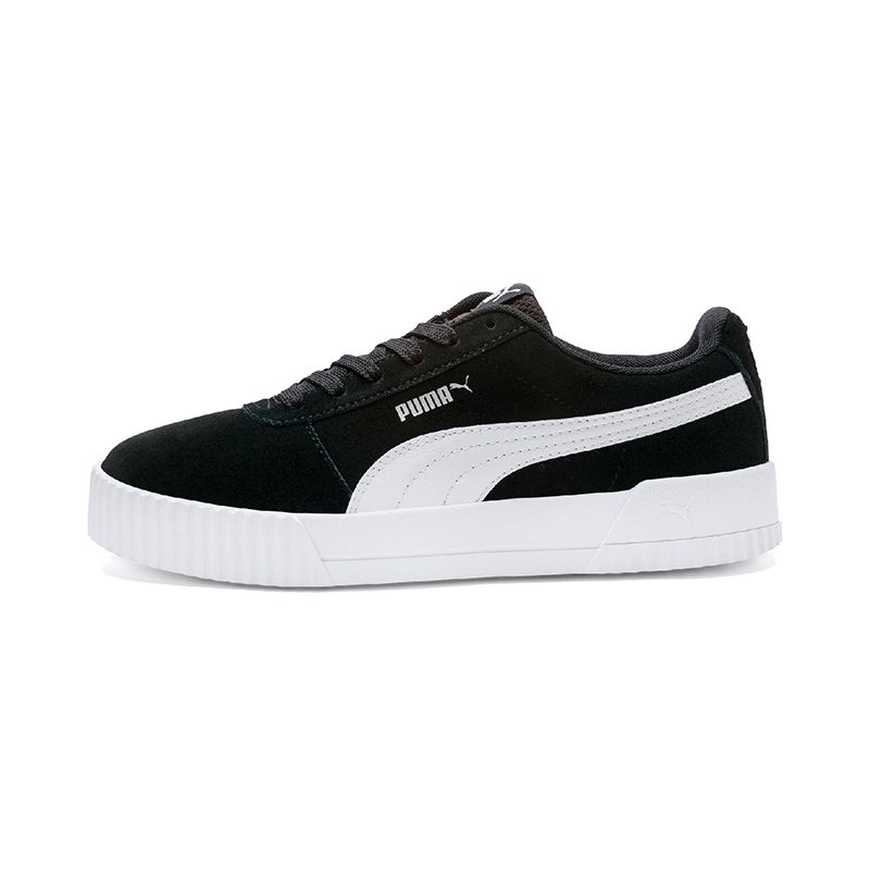black and white Puma women's sport style shoes with a lace closure and suede upper from O'Neills