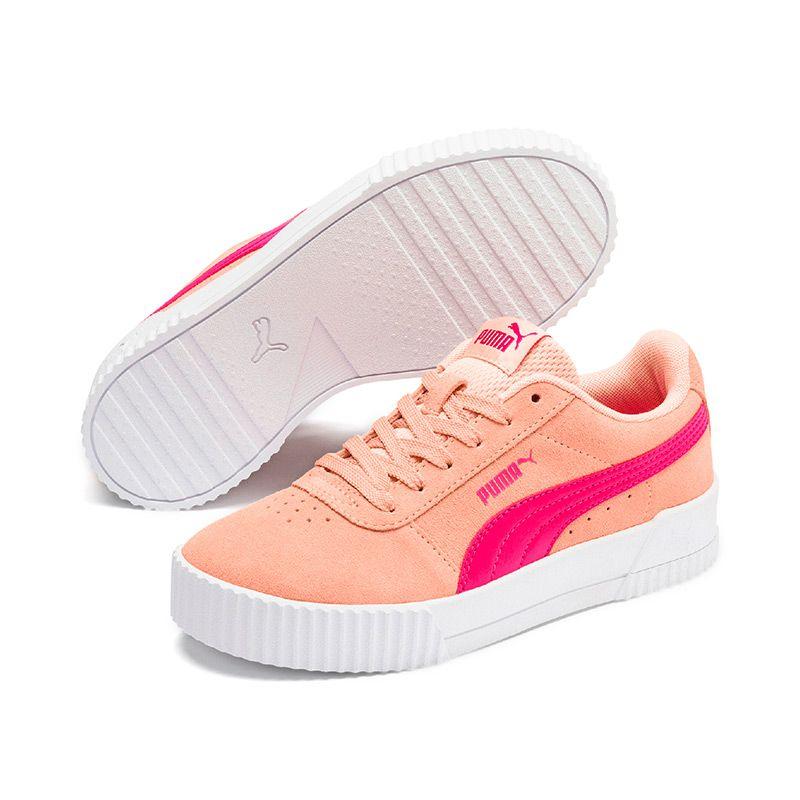 Puma Kids' Carina Jnr Trainer Peach Parfait / Purple