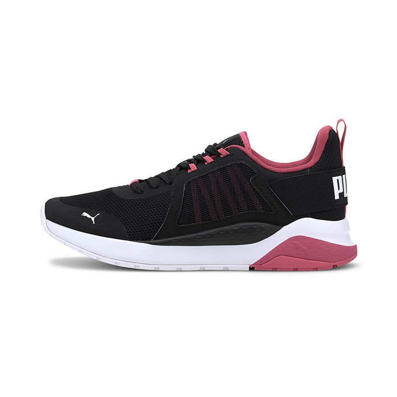 black and pink Puma women's runners with a lace closure and rubber sole from O'Neills