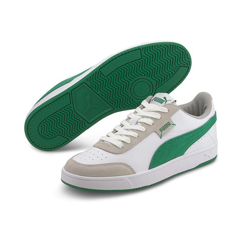 Puma Men's Court Legend Lo Trainers White / Amazon Green / Grey Violet