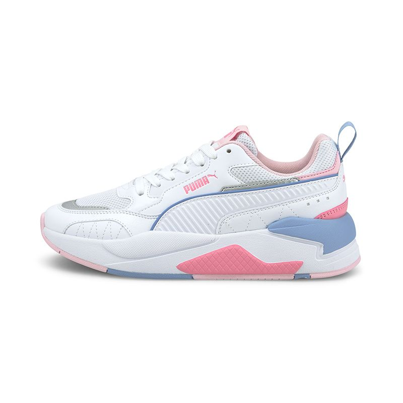 white, pink and blue Puma kids' runners with laces and a rubber outsole from O'Neills