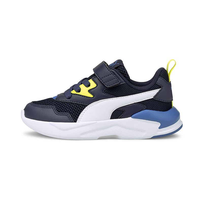 navy, yellow and blue Puma Kids' runners with a combination of laces and hook-and-loop closure from O'Neills