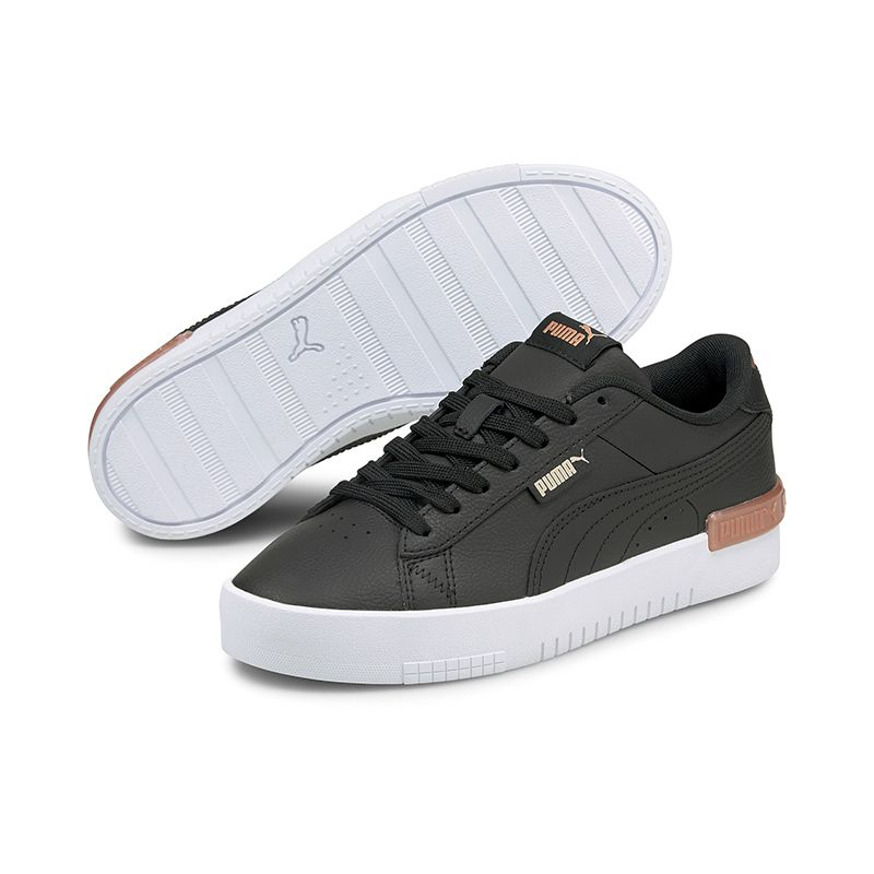 black and rose gold Puma women's sport shoes with a mixed leather upper from O'Neills