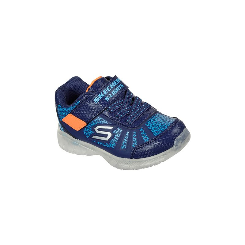 navy, blue and orange Skechers kids' runners with a hoop and loop closure and a water repellent finish from O'Neills