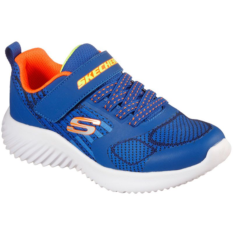 blue and orange Skechers kids' trainers in a slip on style from oneills.com