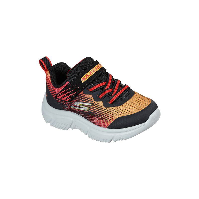 black and red Skechers kids' runners in a lightweight slip-on style from O'Neills