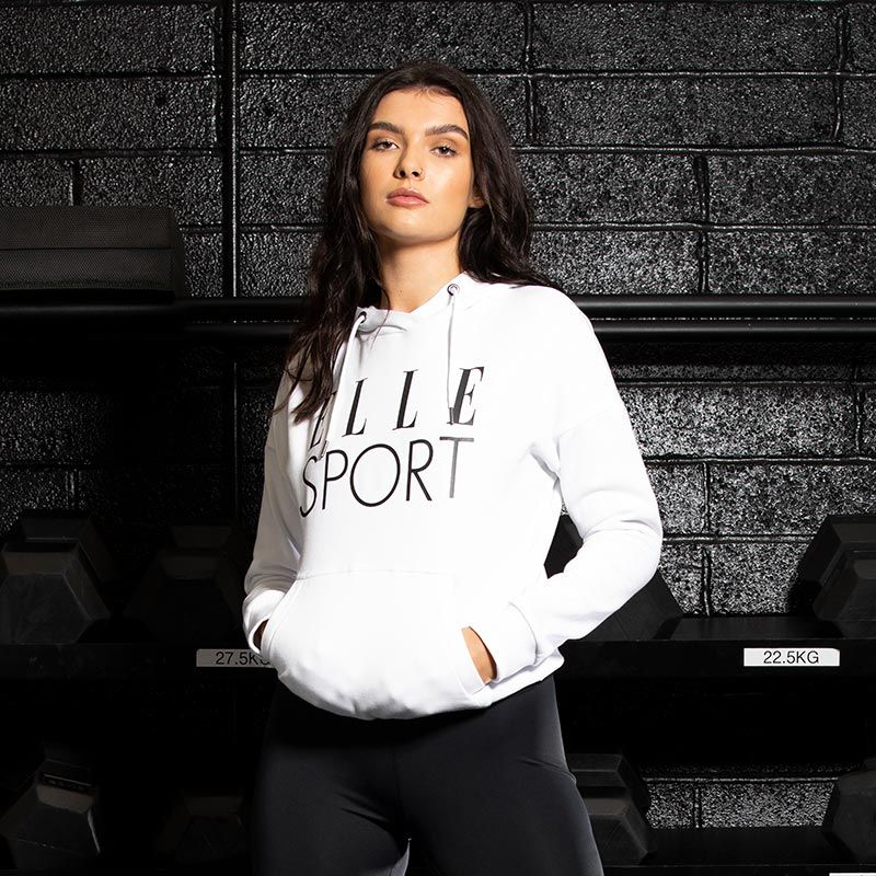 White Elle Sport women's loungewear hoodie with kangaroo pocket from O'Neills.