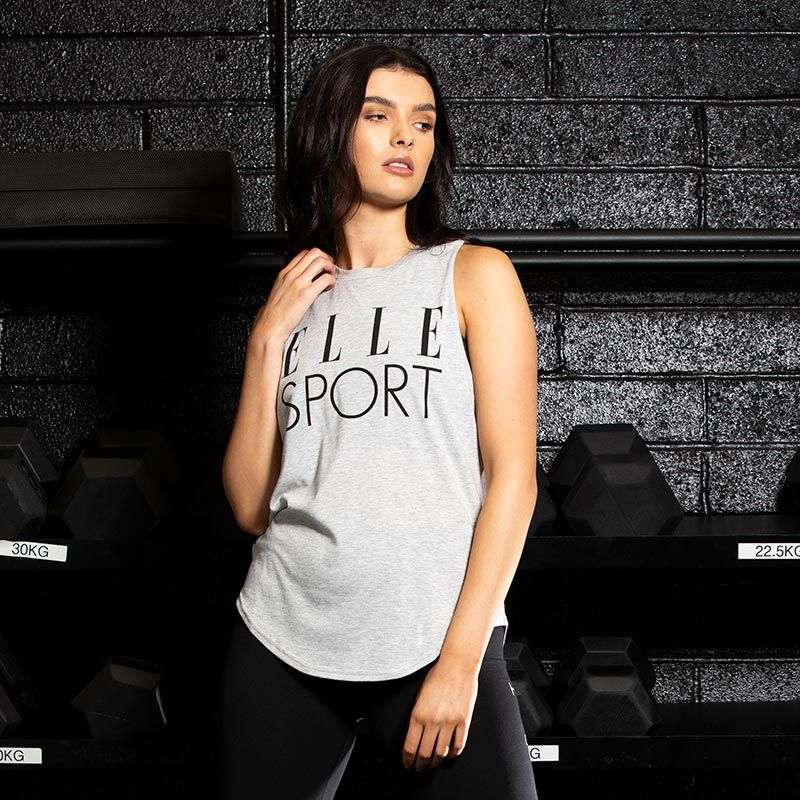 Grey Elle Sport women's gym cotton vest with dropped armholes from O'Neills.