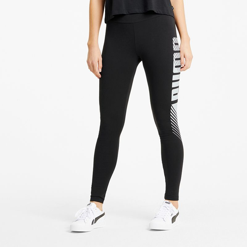 Black Puma women's gym leggings with graphic puma logo on leg from O'Neills.