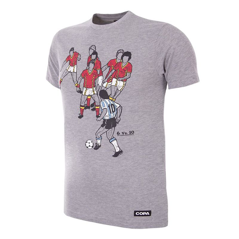 Grey COPA Maradona v Belgian t-shirt with printed illustration from O'Neills.