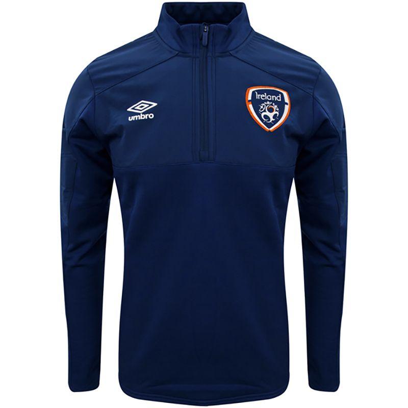 Umbro Republic of Ireland 2021 Men's Half Zip Fleece Top Navy / Pine Green