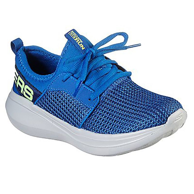 blue Skechers kids' laced runners, well cushioned and lightweight from O'Neills