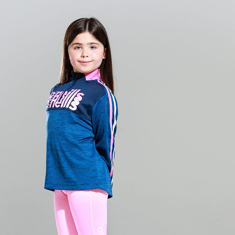 Kids' Girona 2 Stripe Brushed Half Zip Top Marine / Pink / White