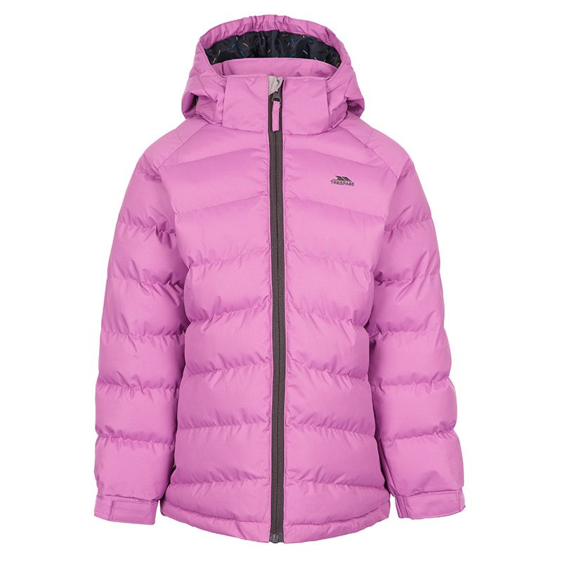 Pink Girls Trespass school coat with padded design and hood from O'Neills.