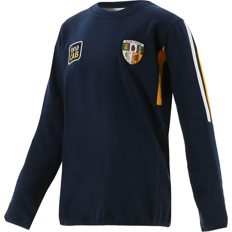 Antrim GAA Kids' Raven Brushed Sweatshirt Marine / Amber / White